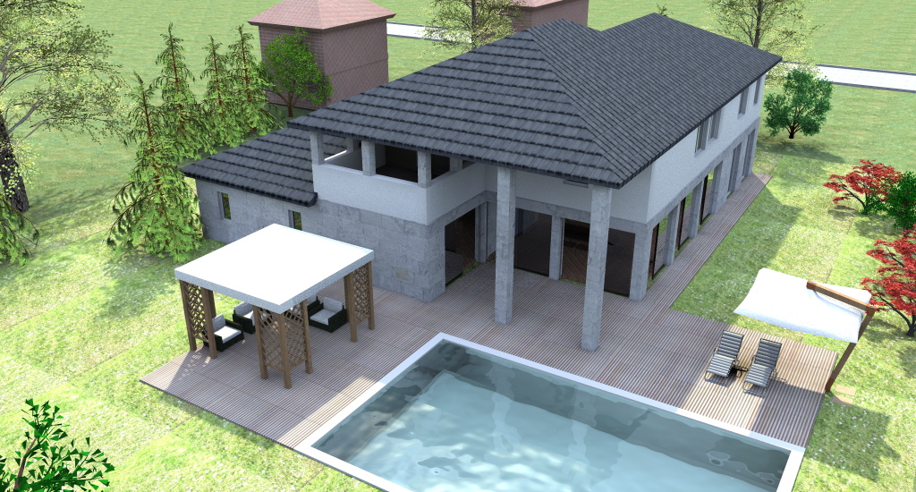 Progetto casa 3d anteprima fotorealistica della tua futura casa - Progetto di casa moderna ...