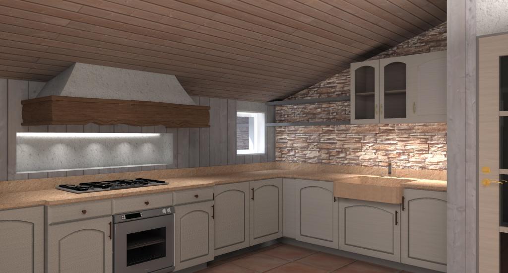 mansarde arredate : Esempio progetto ristrutturazione mansarda: Cucina in mansarda