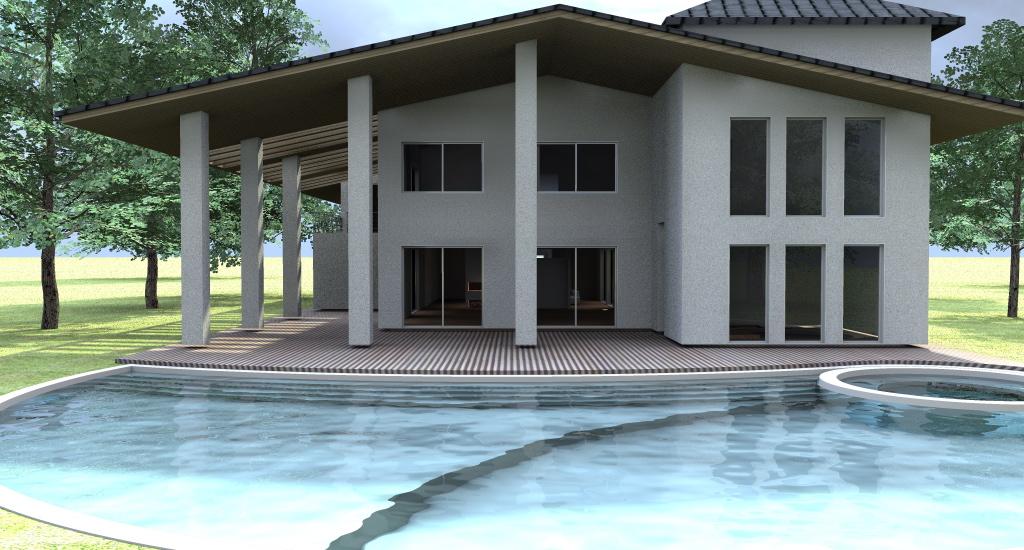 Esempio progetto villa con piscina sull 39 adriatico for Piani di casa porte cochere