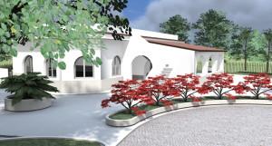 esempio progetto villa: studio percorsi esterni, pavimentazioni e aiuole