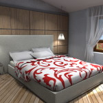Progetto camera matrimoniale con parete testata in legno progettata su misura