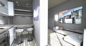 Esempio progetto arredamento interni elemento divisorio cucina soggiorno