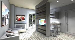 Esempio progetto arredamento interni elemento atrezzato tv totem centro stanza