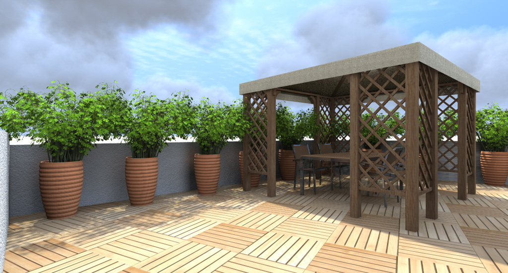Progettazione giardini e progetto del verde dal progetto al rendering - Gazebo terrazzo vento ...