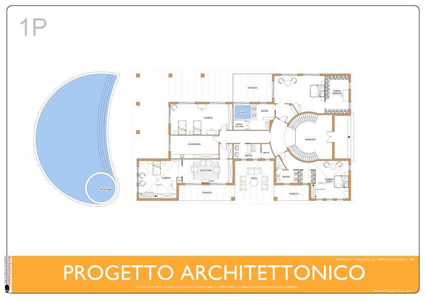 PIANTA PRIMO PIANO: zona notte con 3 ampie camere più camera ospiti. Cabine armadio, bagni con minipiscine ecc.
