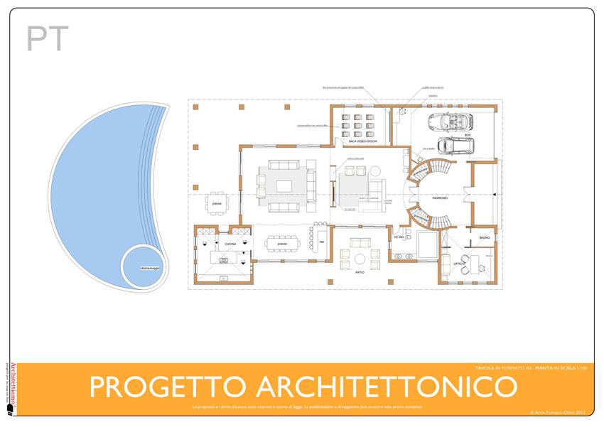 Esempio di progetto di villa con piscina sull 39 adriatico for Esempi di disegni di planimetrie della casa