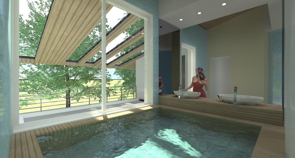MINI PISCINA: Mini piscina sopraelevata con finitura in teak e vetrata con vista su giardino, finitura in teak