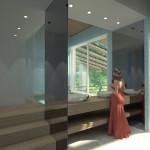 BAGNO CAMERA MATRIMONIALE: Soluzione speciale per zona lavabo aperta frontalmente su minipiscina e vista giardino, sppecchi laterali