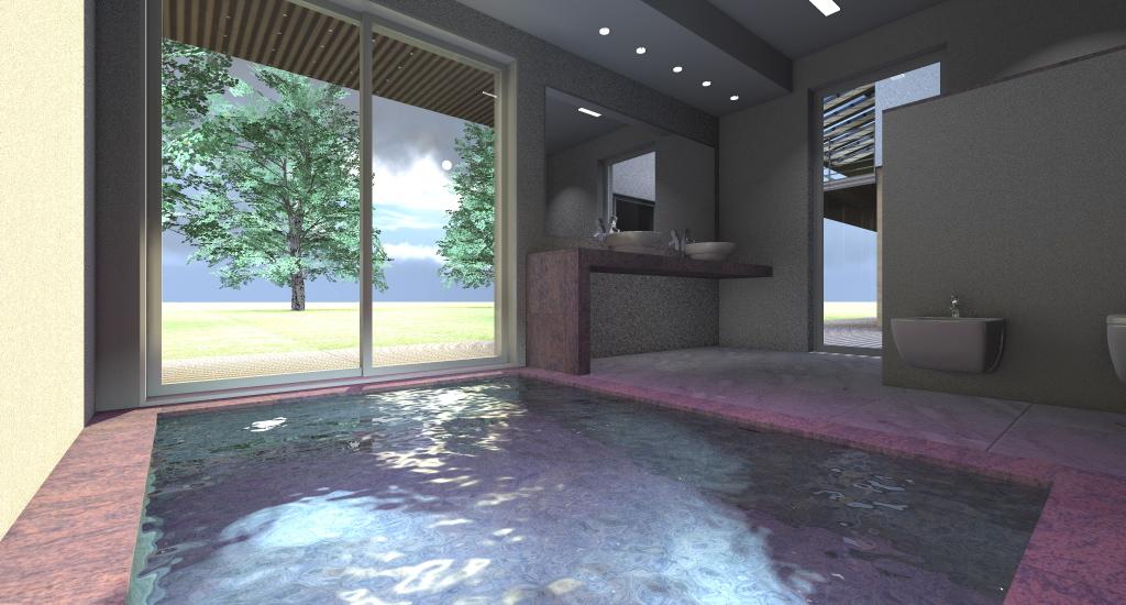 BAGNO ZONA LIVING: mini piscina idromassaggio, cromoterapia, finiture marmo rosa, doppuio lavabo da appoggio