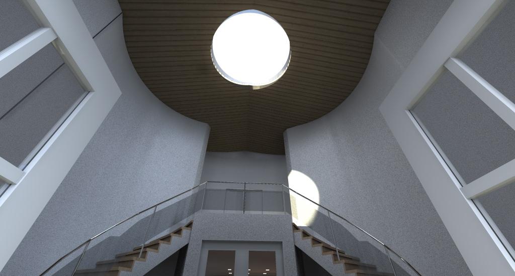 INGRESSO: a tutta altezza e con lucernaio tondo per illuminare l'ingresso dall'alto