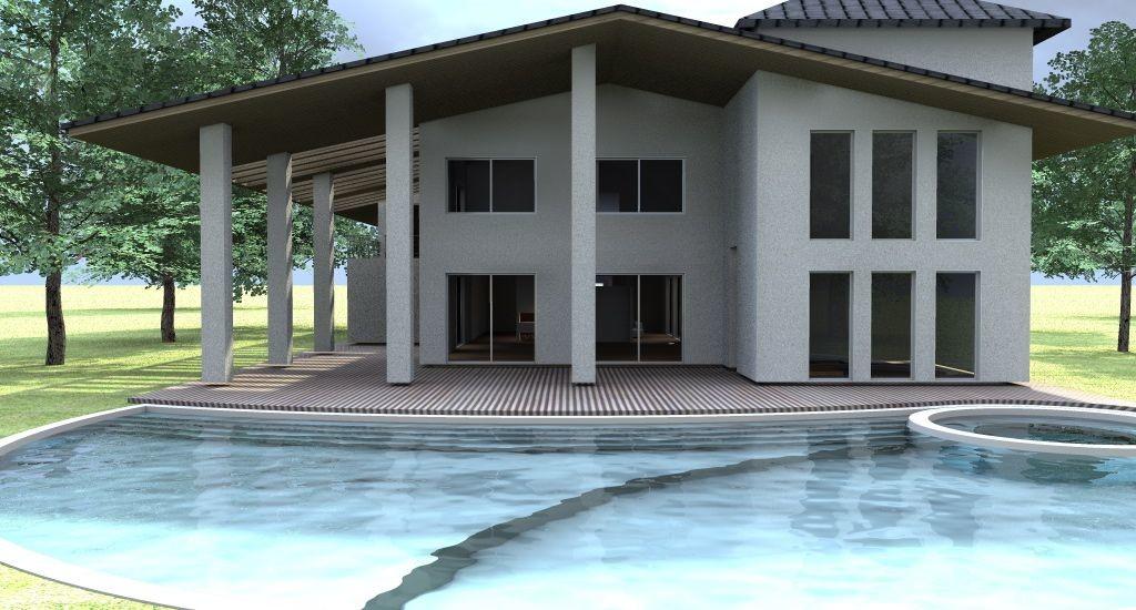 Esempio di progetto di villa con piscina sull 39 adriatico for Case esterne moderne