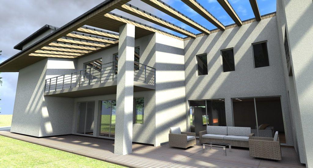 villa lato portico con zona relax