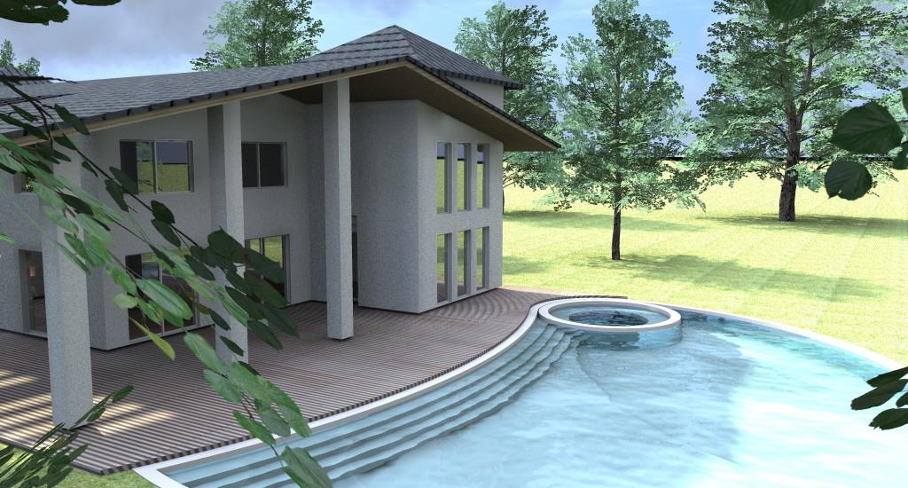 grande villa con piscina