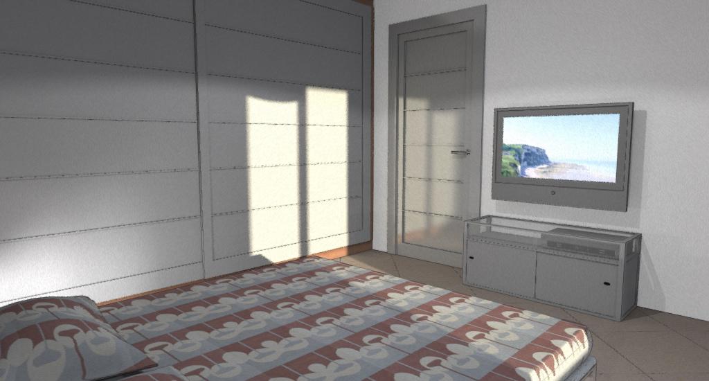 CAMERA: letto matrimoniale con davanti mobile tv e LCD a parete e a lato armadio con ante scorrevoli