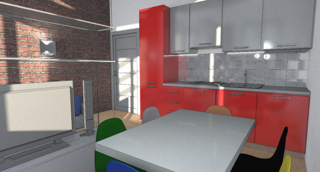 Appartamento con vista esempio progetto online - Cucina bianca e rossa ...