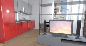 Esempio progetto arredamento interni mensole cristallo a sospensione tv