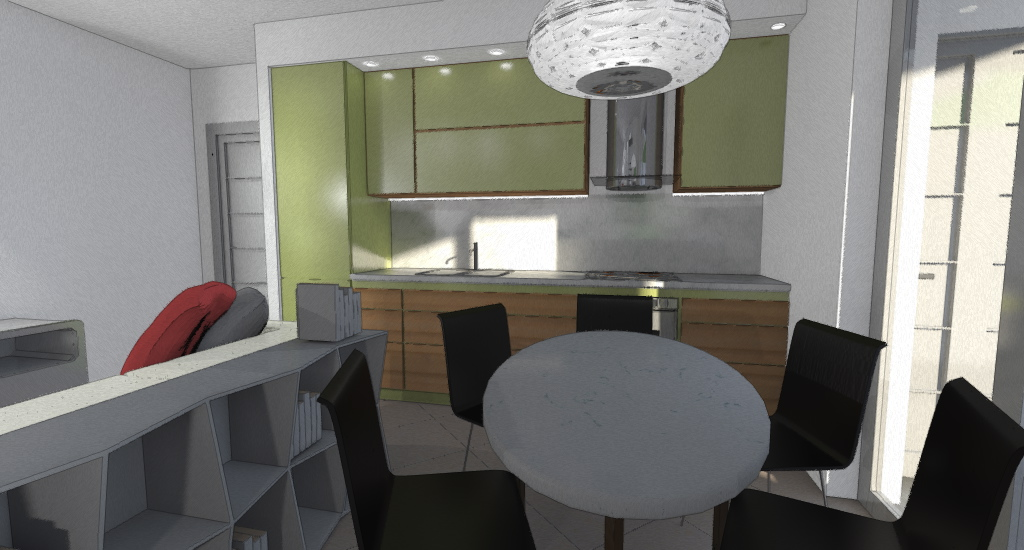 CUCINA E PRANZO: cucina moderna in materiali e colori . Zona pranzo con tavolo comodo ovale.