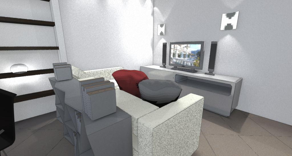 SOGGIORNO: davanti all'ingresso con zona tv e divano