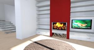 SOGGIORNO: ampia parete atrezzata con termocamino, tv LCD e ripiani