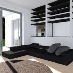 SOGGIORNO: Ampio divano a penisola e ghrande vetrata