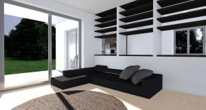 Esempio progetto ristrutturazione soggiorno libreria divisoria centro stanza