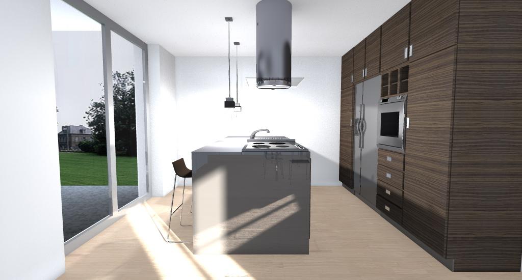 Villa nel verde esempio di progetto online - Cucina isola centrale ...