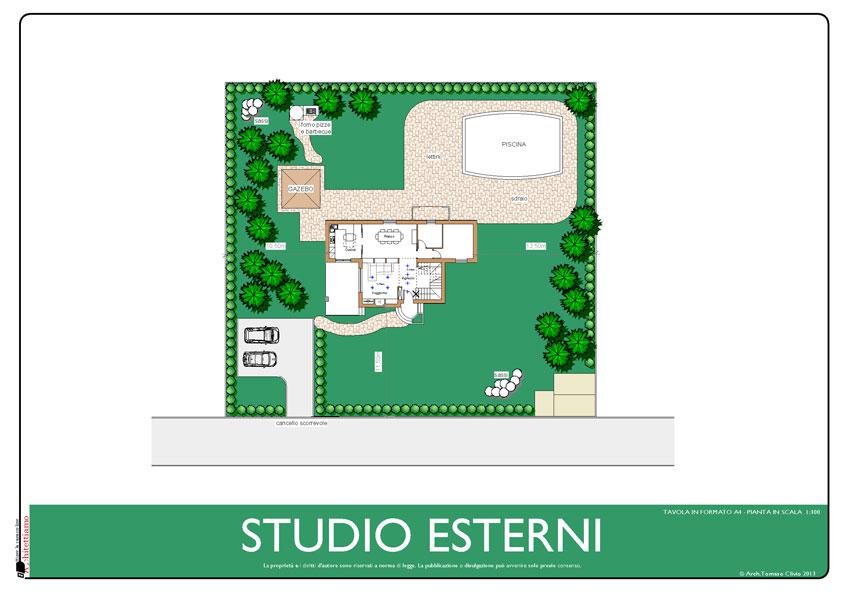 GIARDINO: studio piscina, gazebo, forno pizze e barbecue, percorsi, piantumazioni, parcheggio, arredo esterni