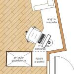 progetto idea arredo - living design - postazione scrivania computer ad angolo