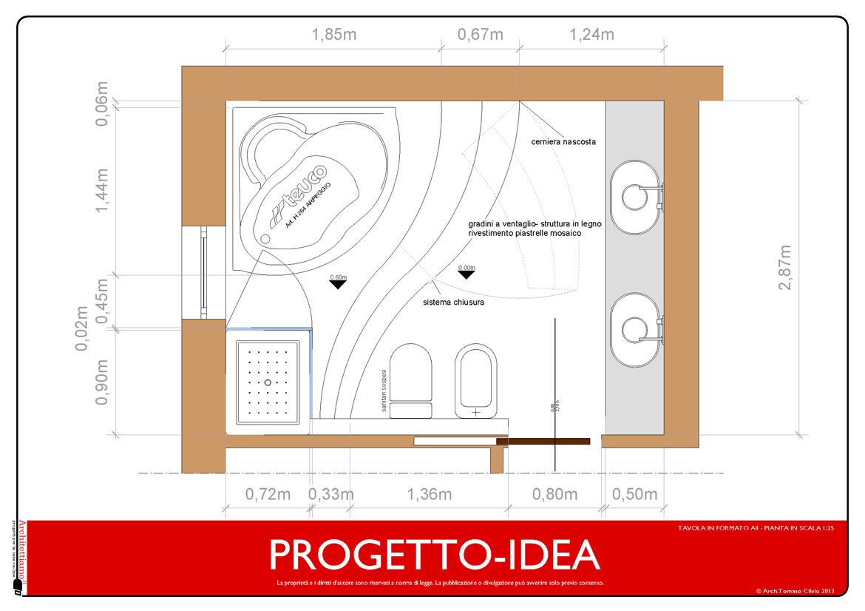 Progetto Bagno Piccolo Con Vasca Progetto Idea Arredo Progetto Bagno  #730100 1170 826 Progettare Cucina Gratis Italiano