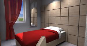 Esempio progetto arredamento interni camera ragazzo parete testata legno