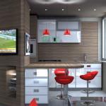 Idea Ristrutturazione 3D - Living piccolo - Rendering cucina1
