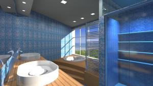 Interior Design: bagno con vasca idromassaggio e lavello doppio