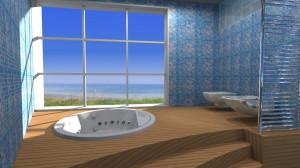 Esempio progetto arredamento interni bagno vasca incasso legno ampia vetrata