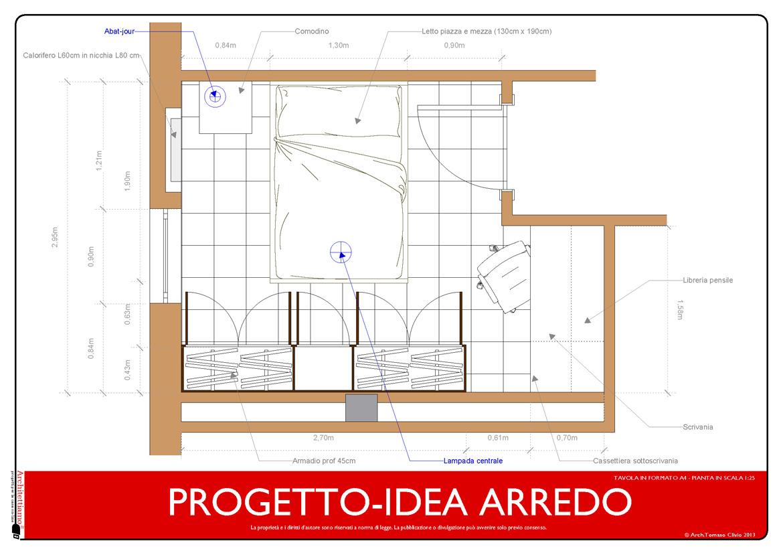 Progetto arredo 3d modellazione 3d e rendering interni - Letto una piazza e mezzo misure ...