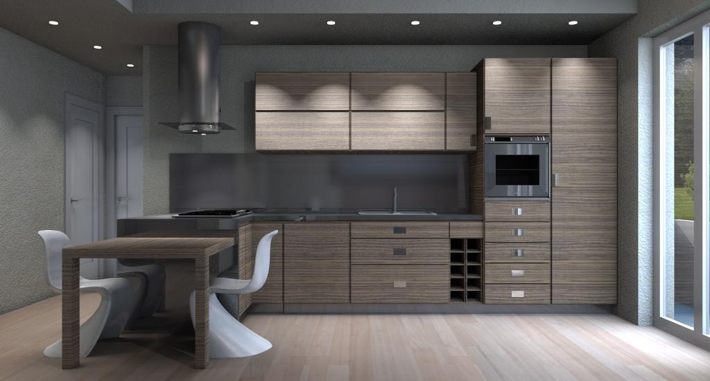 Progetto arredo 3d modellazione 3d e rendering interni - Illuminazione cucina moderna ...