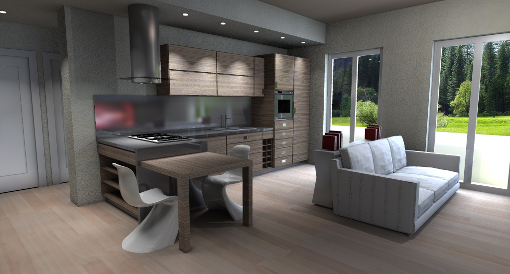 Progetto arredo 3d modellazione 3d e rendering interni for Piccola cucina open space soggiorno