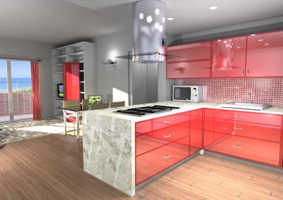 Cucina con penisola color rosso lucida e open space