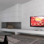 Idea Ristrutturazione 3D - Appartamento in mansarda - rendering soggiorno camino