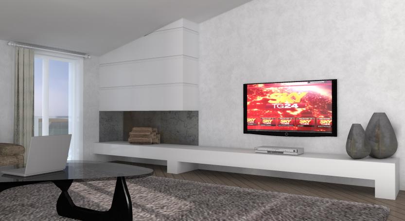 Idea ristrutturazione 3d anteprima fotorealistica progetto3d for Tv sopra camino