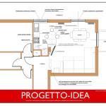 Idea Ristrutturazione 3D - Living piccolo - Progetto Idea
