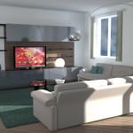 Idea Ristrutturazione 3D - Appartamento grande - Rendering soggiorno