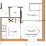 Idea Ristrutturazione - frazionamento appartamento - progetto cucina open space