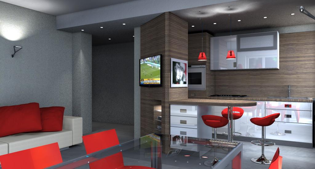 studi e progetti - architettiamo progetti online - Arredamento Moderno Soggiorno Cucina Ristrutturato