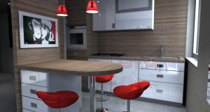 Esempio progetto ristrutturazione appartamento: cucina pensisola snack stondata