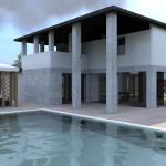 Villa con porticato su piscina