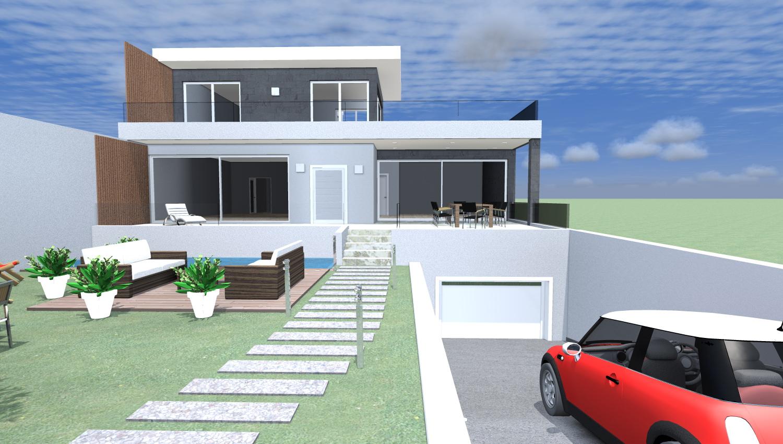 Esempi di progetti 3d di costruzione architettiamo for Piani casa moderna collina