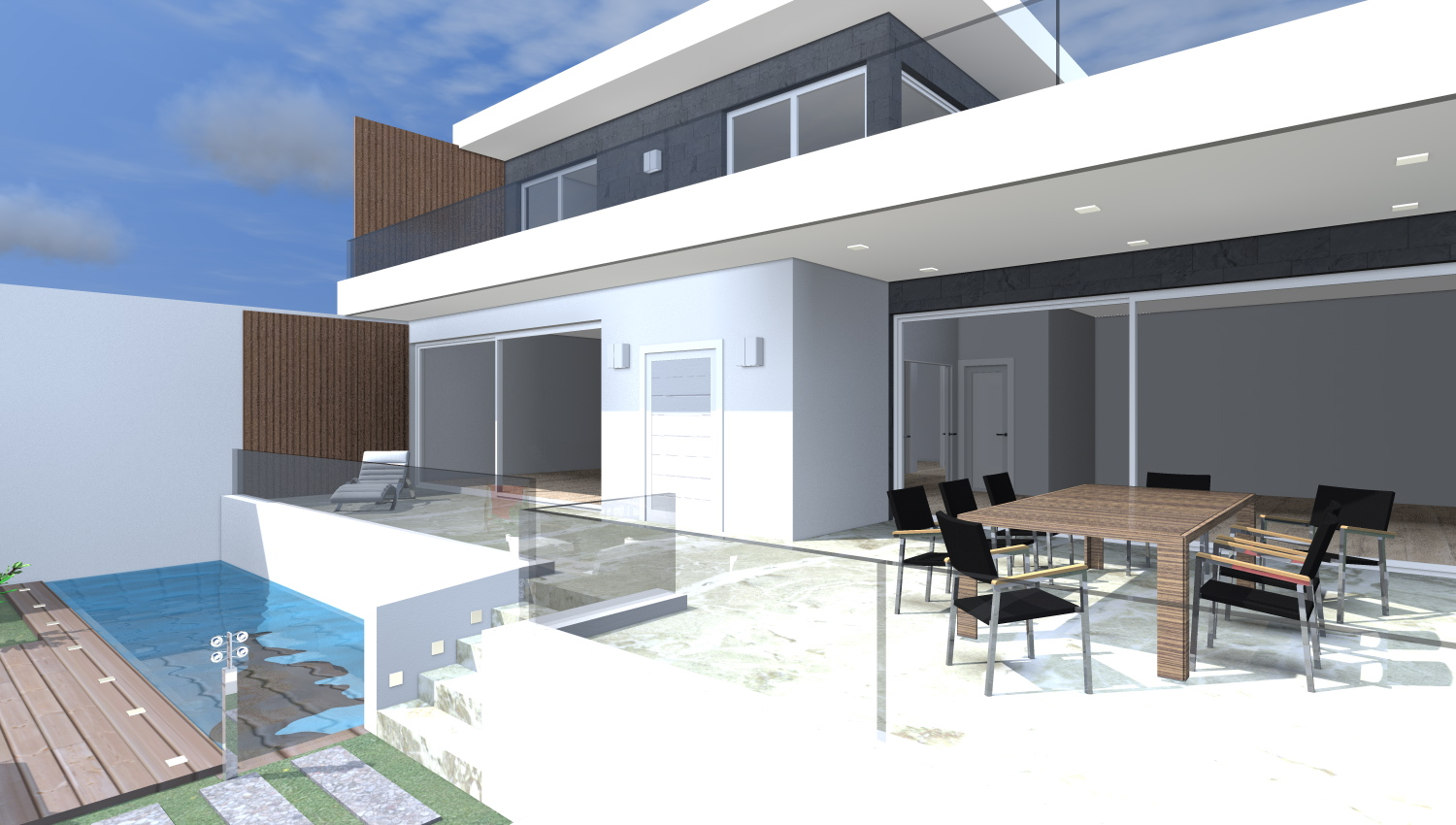 Sketch Up Villa Con Piscina