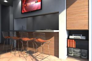 Esempio progetto arredamento interni banco snack sgabelli bar Bertoia Wire