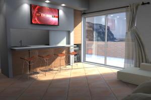Esempio progetto arredamento interni banco snack cucina pannelli chiusura cristallo