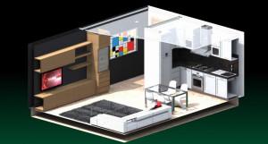 Esempio progetto ristrutturazione appartamento: spaccato assonometrico